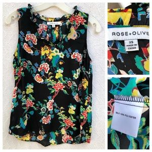 Rose + Olive Sleeveless Floral Blouse